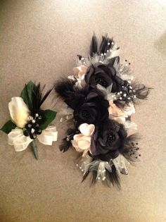 Black& Champagne Corsage & Boutonniere Set Wedding or Prom ...
