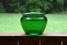 Vintage Green Glass Vase Pot by PanchosPorch on Etsy, $4.00