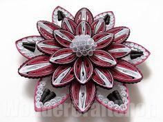#flower #quilling #flowerart flower home decor blooming flower dark pink by WonderCraftShop