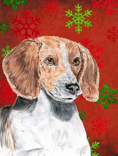 English Foxhound Red Snowflake Christmas Flag Canvas House Size