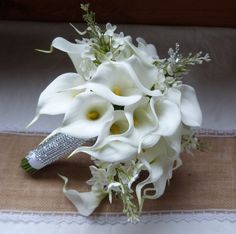 White Calla lily wedding bouquet simple by ChurchMouseCreations