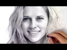 Teresa Palmer charcoal          portrait Drawing time-lapse video