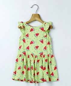 Look at this #zulilyfind! Light Green Watermelon Print Dress - Infant, Toddler & Girls #zulilyfinds