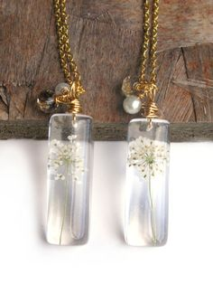 Real Queen's Anne Lace Necklace - Real Flowers Encased in Resin - Pressed Flower Jewelry - Resin Necklace - Wire Wrapped Pendant