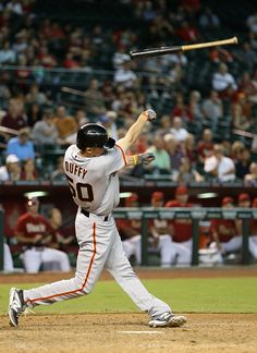 Matt Duffy of the San Francisco Giants throws his bat while hitting against the Arizona Diamondbacks during the ninth inning of the MLB game at Chase Field on Sept. 17, 2014, in Phoenix, Ariz.  (Christian Petersen/Getty Images)