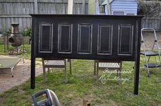 Headboard made from a door...painted