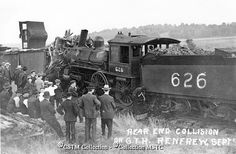 """""""Rear end collision at Renfrew on September Ottawa Valley, Railroad Photography, Train Stations, Rear Ended, Steam Locomotive, Old Photos, Military Vehicles, Ontario, Trains"""