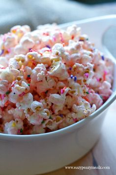 Princess Popcorn: Popcorn liberally seasoned with pink (white) chocolate and sprinkles for a tasty, and fun treat perfect for a princess party.