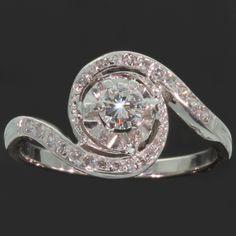 Estate platinum diamond engagement ring a so called tourbillion or twister