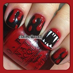 Creepy but cute halloween nails art design ideas you will love 57 Holiday Nail Designs, Holiday Nail Art, Halloween Nail Designs, Fall Nail Art Designs, Holloween Nails, Cute Halloween Nails, Halloween Vampire, Spooky Halloween, Bling Nails