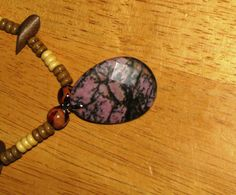 Wood Beaded Necklace with Rhodonite  Pink by ETNFamilyProducts, $30.00