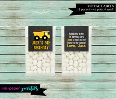Construction Dump Truck Birthday Party Tic Tac by InkPaperParties