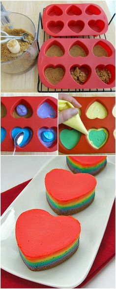 Rainbow Cheesecake Hearts - For all your cake decorating supplies, please vis. Yummy Treats, Delicious Desserts, Sweet Treats, Yummy Food, Cheesecake Recipes, Dessert Recipes, Cupcake Recipes, Rainbow Cheesecake, Rainbow Food