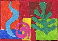 Art Projects for Kids: Overlapping Matisse Shapes. Combined overlapping lesson with Matisse-like shapes to create a colorful drawing exercise.