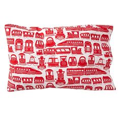 Shop Organic All Aboard Red Train Pillowcase.  This train sheet set will get you on the right track to creating a cozy, colorful kids bedroom.