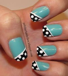 Teal & Polka Dots > China Glaze ~ For Audrey + Wet N Wild Black Creme on diagonal french tip + White polish with a striping brush for a dividing line + Add white polish polka dots using a dotting tool + topcoat!