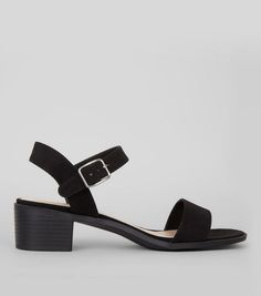- Wide fit (D fitting)- Extra measure across insole, width and joint- Soft suedette finish- Ankle strap fastening- Open toe- Block heel Formal Shoes, Casual Shoes, Shoe Gallery, Mens Trainers, Neue Trends, Block Heels, New Look, Open Toe, Ankle Strap