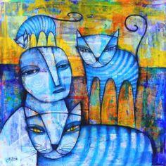 "Dan Casado Outsider Folk Raw Art Between Cats Original Collage Painting 14x14"" | eBay"
