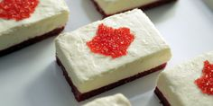 Celebrate Canada Day by proudly showcasing our beautiful maple leaf on top of these creamy no-bake cheesecake bars. The addition of a red graham cracker base makes it even more patriotic, but the … White Desserts, Sweet Desserts, No Bake Desserts, Delicious Desserts, Dessert Recipes, Potluck Recipes, Bar Recipes, Easy Desserts, No Bake Cheesecake