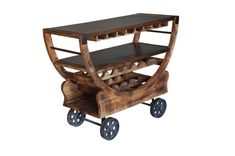 Delight your guests with this rolling bar trolley boasting a wide top for serving drinks, hangers for stemware glasses and convenient wine bottle storage underneath. The distressed mango wood and bronze metal finish add rustic charm. Wine Bottle Storage, Wine Bottles, Bronze Wheels, Bar Trolley, Vintage Bar Carts, Rustic Wine Racks, Gold Bar Cart, Bar Cart Decor, Sweet Home