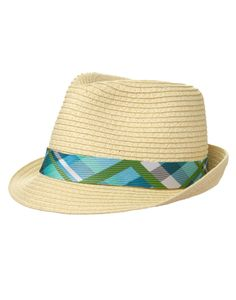 742610f488f Bring his spring party accessories into perfect harmony with our matching  fedora. Colorful plaid trim