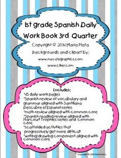 Took me forever.but it's finally done! and quarter work books coming soon(ish)! Spanish Practice, Word Work Stations, Personal Narrative Writing, Depth Of Knowledge, Common Core Standards, Teaching Resources, Teaching Ideas, Grade 1, Lesson Plans