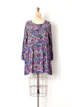 vintage 1980s dress / abstract floral print 80s by SwaneeGRACE