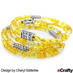 Cheryl combined Sparkle Beads and braided cord from eCrafty.com for this easy and elegant memory wire bracelet.  Memory wire is so versatile, especially for bracelets. Cheryl added our Bali style beads for a little extra touch of sophistication. #jewelry-supplies #diycrafts #diy #diyjewelry #etsy #bracelet #memorywire #beads #crafts #beading #yellow #balibeads For easy instructions, a 20% instant savings coupon, clickable supplies list, and color variations, read on!