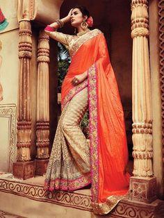 Splendid Orange Georgette Designer Saree