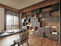 Here you will find photos of interior design ideas. Get inspired! Office Interior Design, Home Interior, Modern Interior, Shelf Design, Cabinet Design, Wood Interiors, Office Interiors, Scandinavian Interior Living Room, Study Room Design