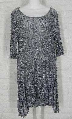 SURREALIST USA Tunic Shirt Layering Floral Lace Grey New Sz 2 3 Medium Large #SurrealistUSA #Tunic #Casual