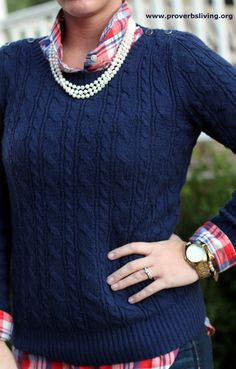 Preppy, Plaid, & Pearls = lovely fall outfit  www.proverbsliving.org