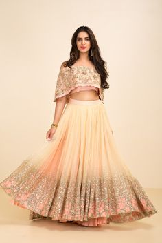 You don't need a big wallet to look a million bucks. This gorgeous nude shimmer sequins cape style lehenga is super budget friendly. #Frugal2Fab