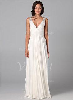 Brautkleider - $132.98 - A-Linie/Princess-Linie V-Ausschnitt Bodenlang Chiffon Brautkleid mit Rüschen Perlenstickerei (00205001099)