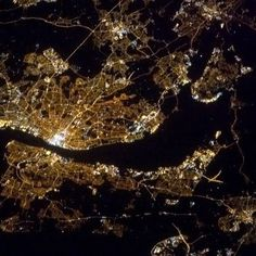 """Astronaut Cmdr Chris Hadfield's image taken from the International Space Station of Liverpool, River Mersey and Wirral Peninsula. """"Liverpool on the Mersey, very bright on a clear coastal night. Liverpool Town, Liverpool Docks, Liverpool History, Cuando Sea Grande, Chris Hadfield, Earth Photos, International Space Station, Earth From Space, South Pacific"""