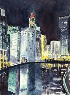 ChicagoSkyline by Yvonne Ham Watercolor ~ 7 x 5