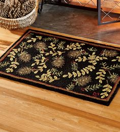 Hand Hooked Fire Resistant Willows And Cones Wool Rug