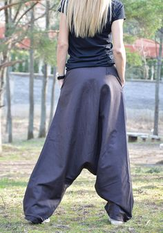 Oversize Linen Brown Pants Loose Low Bottom Pants Drop