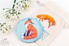 Red Fox Fabric Pocket Mirror Cosmetic Mirror Makeup Mirror Gifts for Women Fabric Covered Mirror by ceridwenDESIGN http://ift.tt/29cXCyY