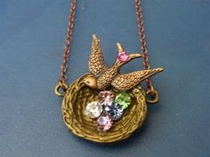 Birthstone, Bird Nest, Pendant! Opt up to 7 Crystals! Birthstone Pendant, Personalize, Family Heirloom, Family Tree, Mother's Day Gifts
