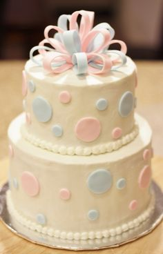 Baby Shower - Buttercream 6 and 8 inch cakes, with fondant decorations