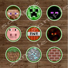 MINECRAFT Party Circles - Cupcake Toppers- INSTANT DOWNLOAD Minecraft Printable Birthday Party. $6.00, via Etsy.