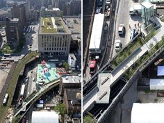 (left) aerial view of 'rainbow city' presented by AOL, an environmental and interactive art installation by friendswithyou, on view from june to early july at the lot image © friends of the high line (right) aerial view of '30th street cut-out and viewing platform' image © friends of the high line