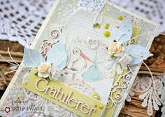"childish card for Sklep-Ewa.pl. Delicate, pastel project  which I used paper Craft & You Design from the collection ""New Born Baby "" . Beautiful , thick paper ideal for cards  and mixed media's projects."