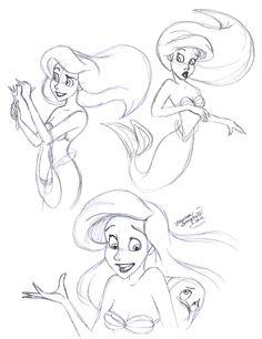 Little Mermaid - MAOR ARIEL: disney, sketches