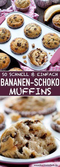 Einfache Bananen-Schoko Muffins | Die ideale Resteverwertung für alle reifen Bananen, die man so nicht mehr essen möchte. Das Rezept ist einfach und unkompliziert, ideal auch zum Backen  mit den Kids | #muffin #muffins #bananenmuffins #schokomuffins #backen #selbstgemacht #rezept #einfachkochen | emmikochteinfach.de