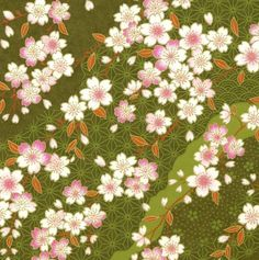 Chiyogami or yuzen paper - pretty waves of pink cherry blossoms on green, 9x12 inches via Etsy