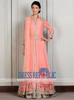 Light Coral Collar Neck Two Legged Flared Sharara Manish Malhotra Collection 2014 Special Occasion