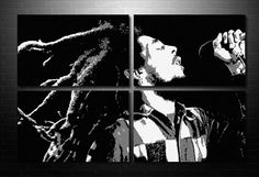 Bob Marley 4x 32x20 b/w on canvas