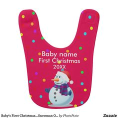 Baby's First Christmas...Snowman On Red Background Baby's Bib